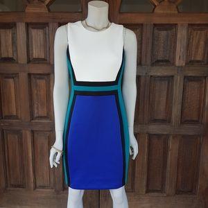 Calvin Klein Valeria scuba knit tricolor dress